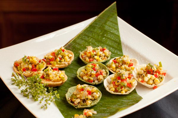 Grilled Corn and Pepper Salad Appetizer Cups - Hampshire House Boston