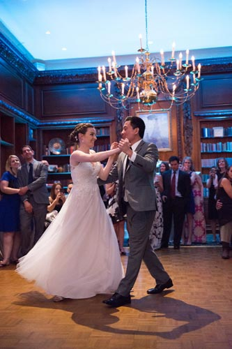 Bride and Groom Dancing in the Library - Hampshire House Boston