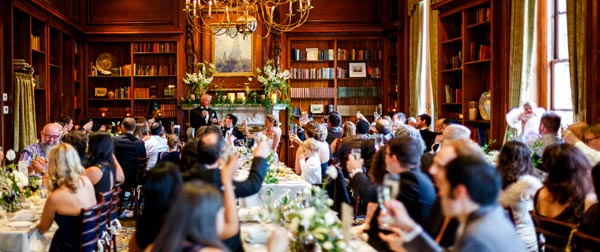 A Wedding Toast in the Library - Hampshire House Boston
