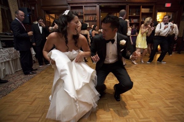 Bride and Groom Dancing in Library - Hampshire House Boston