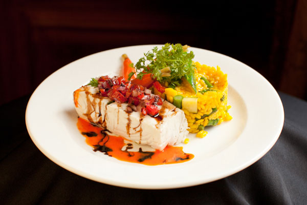 Herb Poached Halibut with Rice Pilaf Entree - Hampshire House Boston