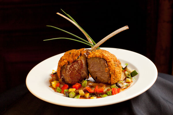 Horseradish Crusted Rack of Lamb Main Course - Hampshire House Boston