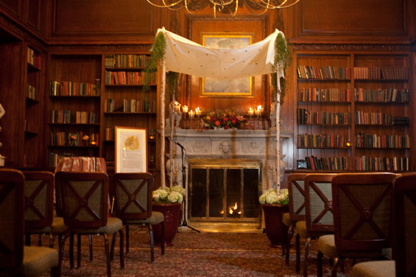 Wedding Ceremony with Chuppah in Library - Hampshire House Boston