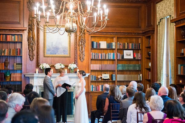 Wedding Ceremony in Library - Premier Wedding Venue - Hampshire House Boston