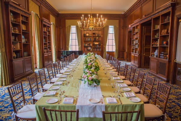 Spring Dinner in the Library with Long Table Arrangement - Hampshire House Boston