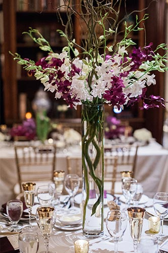 Tall Table Centerpiece in Library - Hampshire House Boston