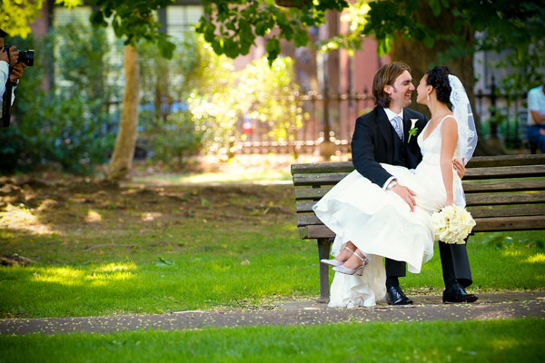 Bride and Groom Outside Premier Wedding Venue - Hampshire House Boston