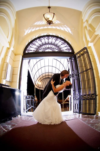 Bride and Groom Photo Op in Foyer - Hampshire House Boston